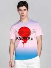 Gradient Color Letter Men Graphic T Shirts