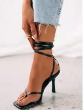 Square Toe Lace-Up Ladies Heel Sandal