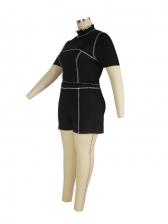 Black Sport Casual Plus Size Two Pieces Short Sets