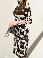 V Neck Fashion Contrast Color Dress For Women