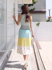 Summer Vacation Style Jacquard Weave Sleeveless Dress