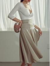 V Neck Top And Ruffled Design Skirt Sets Women