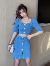 Vintage Casual Denim Two Pieces Short Skirt Sets