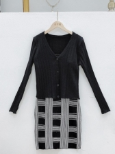 Stylish Knitted Camisole Two Pieces Dress For Women