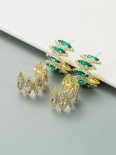 Fashion Rhinestone C-Shape Chic Green Stud Earrings