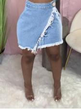 Street Irregular Solid Denim Skirt