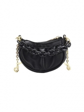 New Ruched Solid Chain Mini Shoulder Bags