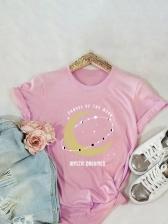 Fashion Moon Print Plus Size T Shirt