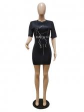 Letter Print Short Sleeve Summer Dresses