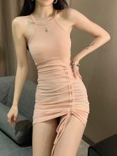 Sexy Halter Drawstring Short Dress
