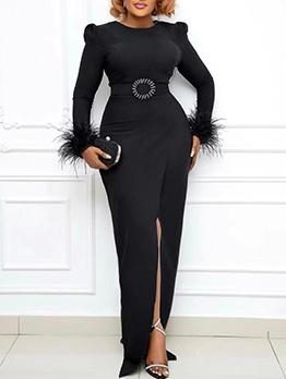 Elegant Solid Patch Long Sleeve Maxi Dress