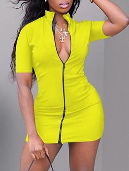 Stand Collar Zipper Short Sleeve Mini Dress