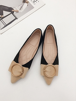 Pointed Toe Color Block Womens Flats