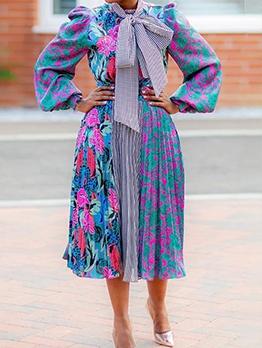 Printed Puff Sleeve Pleated Long Sleeve Dress Women