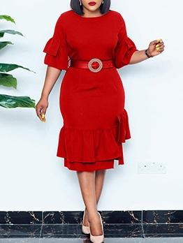 Women Solid Ruffled Half Sleeve Dress With Belt
