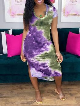 Sexy V Neck Tie Dye Short Sleeve Dress