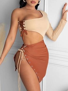 Sexy Color Block Cutout Long Sleeve Mini Dress