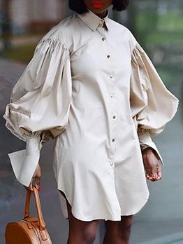 Loose Lantern Long Sleeve Shirt Dress