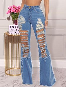 Sexy High Waist Bootcut Ripped Jeans