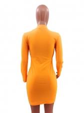Euro Solid Zipper Long Sleeve Dress
