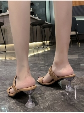 Square Toe Woven Design Heeled Slippers For Women