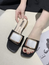 Simple Square Toe Chunky Heel Slipper Shoes