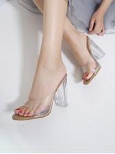 Versatile Round Toe Clear Heel Womens Slippers