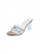 Round Toe Rhinestone Chunky Heel Ladies Slippers