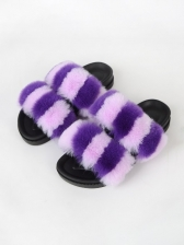 Contrast Color Fur Slip On Ladies Slippers