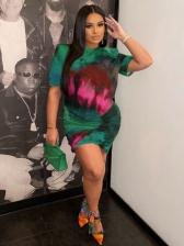 Fashion Tie Dye Print Plus Size Short Sleeve Dress