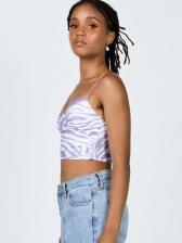 Summer Print Off Shoulder Cropped Tank Top For Women