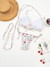 Tie Wrap Low Waist Printed Sexy Bikini Sets