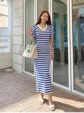 Casual Stylish Striped Short Sleeve Maxi Dress