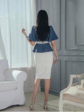 Korean Mock Neck Flare Sleeve Trendy Blouse