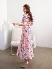 Summer Bow Neck Flower Print Vacation Maxi Dress