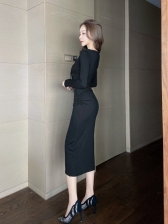 Casual Fitted Solid Long Sleeve Dress For Women