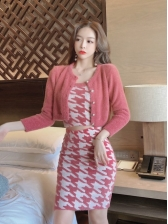 Houndstooth Strapless Top And Skirt Sets With Cardigan Coat
