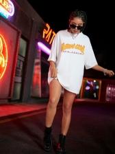 Street Contrast Color T Shirt Dress