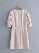 New V Neck Single Button Dress