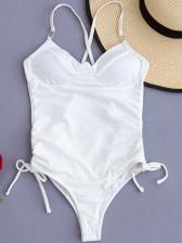 Plain White Lace Up One Piece Swimsuit