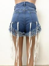 Fringed Edge With Rope Hip Pocket Denim Shorts