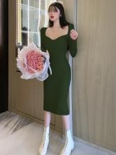 Attractive V Neck Knitting Women Dress
