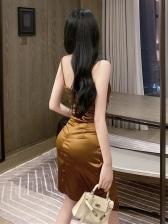Sexy V Neck Pleated Sleeveless Dress