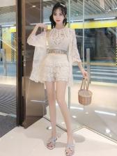 Trendy Lace Three Piece Cardigan Sets