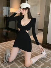 Sexy V Neck Long Sleeve Dress