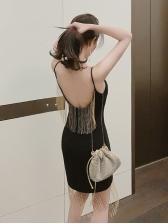 Sexy Tassel Backless Sleeveless Dress