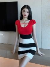 Fashion Stripped Short Sleeve Dress