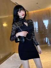 Sexy Lace Panel Bodycon Women Dress