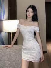 Solid V Neck Lace Dresses For Women
