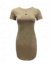 Trendy Solid Short Sleeve Dress